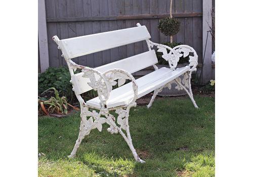 Old White Garden Bench With Original Cast Iron Blackberry Detail