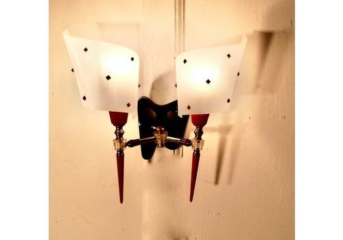 Set Of 5, 50s Retro Black And Red Wall Lights,
