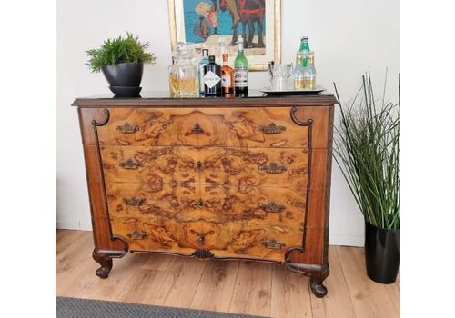 Italian Midcentury Walnut Burl Brass Glass Top Chest Of Drawers Commode Credenza