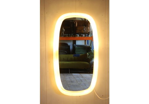Bathroom Mirror With Lighting From Hillebrand With Plexiglass Edge 1960s