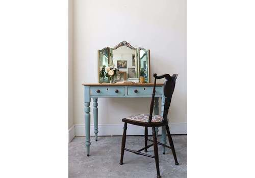 Vintage Country Pine And Fruitwood Dressing Table Or Desk In Duck Egg Blue