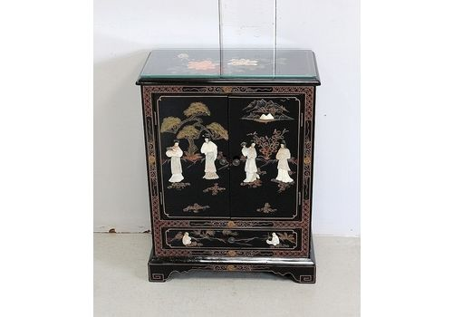 Small Asian Cabinet In Black Lacquered Wood, 20th