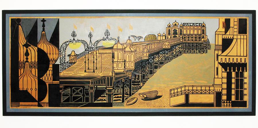 Edward Bawden Brighton Pier Linocut photo 1