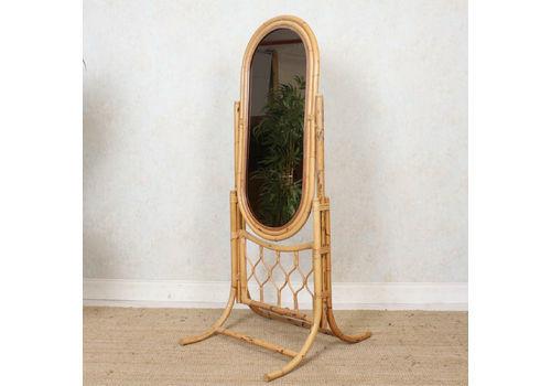 Italian Bamboo Rattan Cheval Mirror Large Mcm 1960s