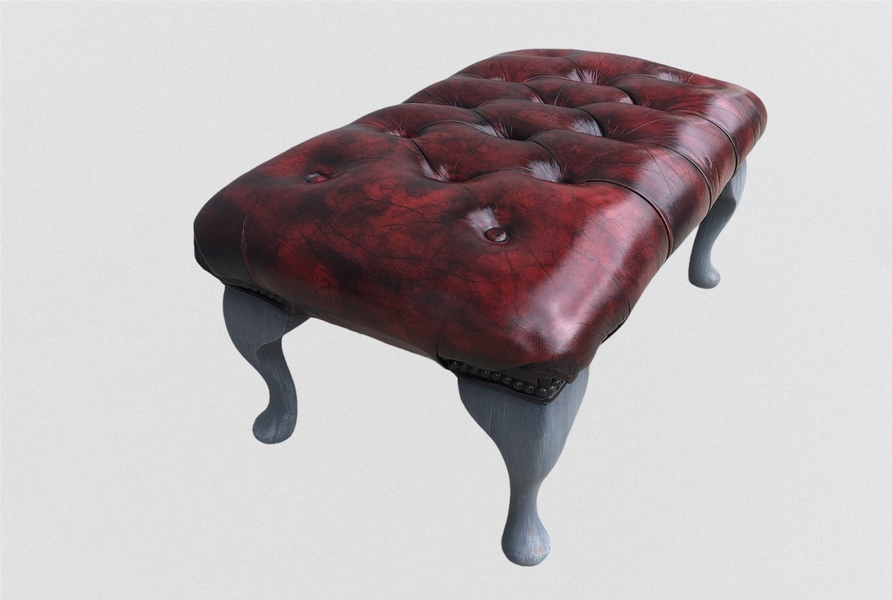 Stunning Vintage Chesterfield Style Footstool / Leather Stool photo buy