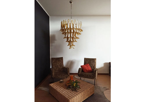 Italian Vintage Murano Chandelier In The Manner Of Mazzega   75 Caramel Glass Petals