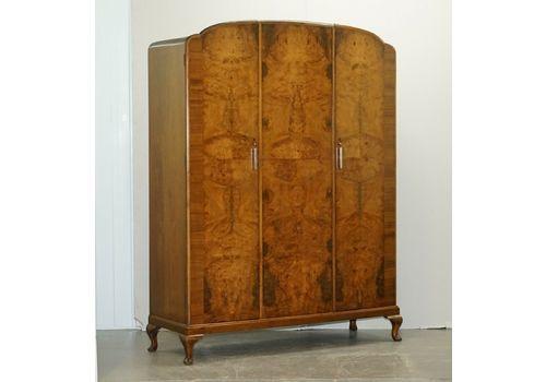 Stunning 1932 Waring & Gillow Burr Walnut Triple Bank Wardrobe With Mirror