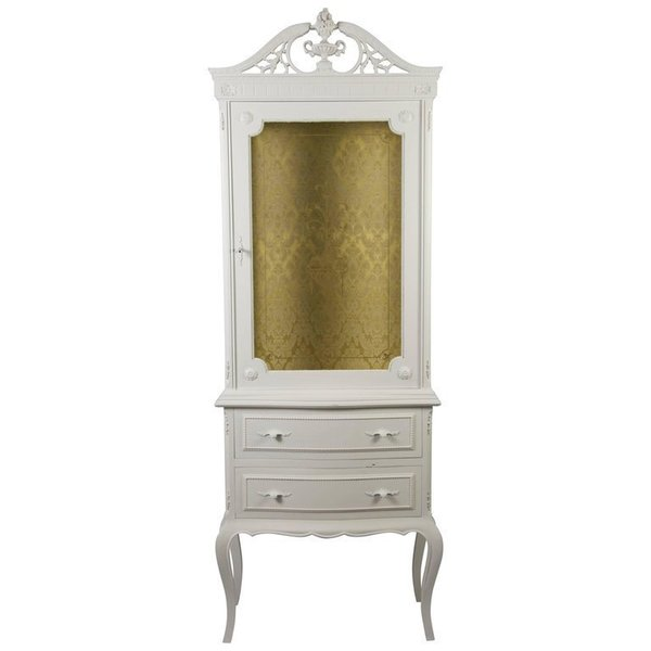 Gustavian Rococo Style White Painted Display Cabinet Glass Vitrine Early 20th Century