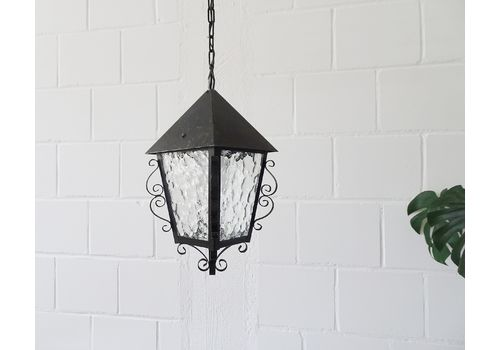 French Iron And Glass Pendant Lamp