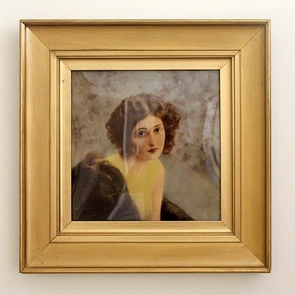 1920s Verre Eclomise Painting Of A Woman