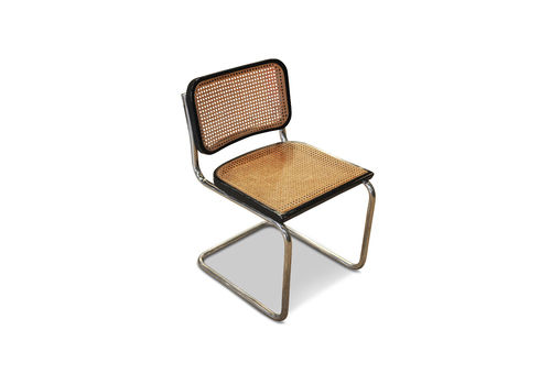 Cesca B 32 Ebonised Wood Cantilever Chair With Weave Seat A Later Marcel Breuer Made In Italy 1970's Seven In Stock