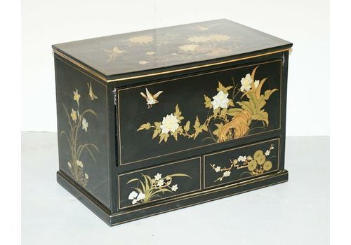 Chinese Chinoiserie Tv Media Stand Black Lacquered Paint Bird & Flowers