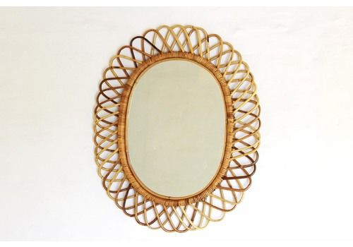1960s Vintage Bamboo Mirror By Franco Albini