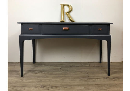 Stag 3 Drawer Console/ Dressing Table Painted Blue With Copper Handles