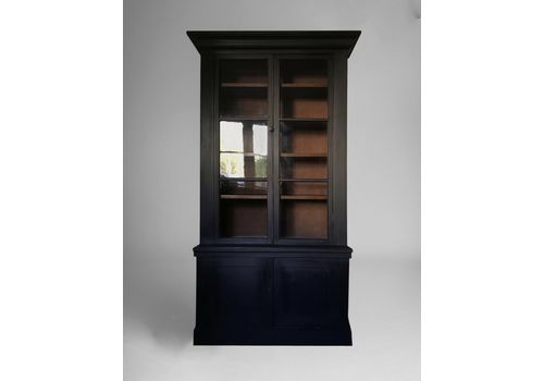 Antique Black Painted Glazed Dresser Larder Bookcase