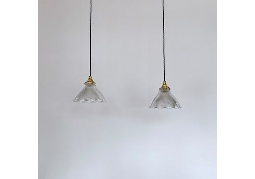 Pair Of Vintage Fluted Holophane Style Glass Shades