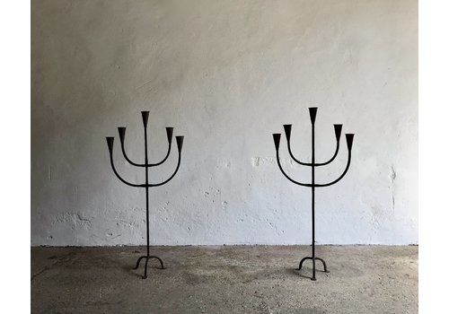 Pair Of Giant Brutalist Candle Holders