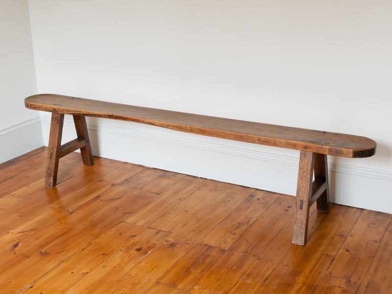 Antique Trestle Style French Oak Bench photo 1
