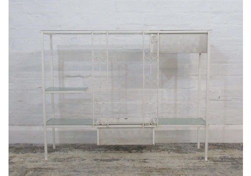 Retro White Wrought Iron Plant Stand With Glass Shelves & Metal Planters Troughs