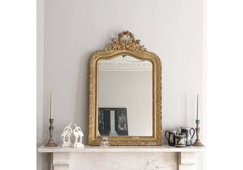An Antique French Gilt & Gesso Framed  Overmantel Mirror C1900 In Louis XVI Style,