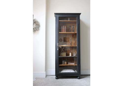 Fabulous Tall Black Painted Armoire Or Linen Cupboard With Shelves And Glazed Door