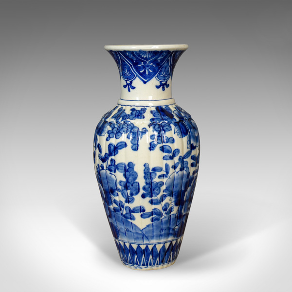Blue And White Chinese Flower Vase, Ceramic, China Pottery Mid/Late C20th