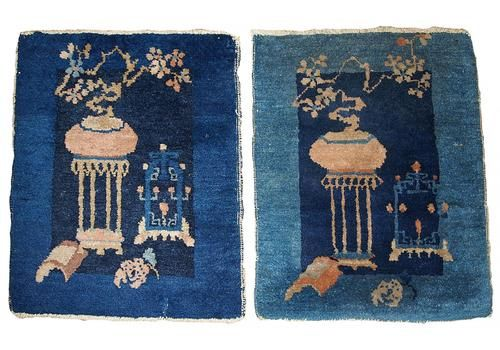 Antique Chinese Peking Handmade Rugs, 1870s, Set Of 2