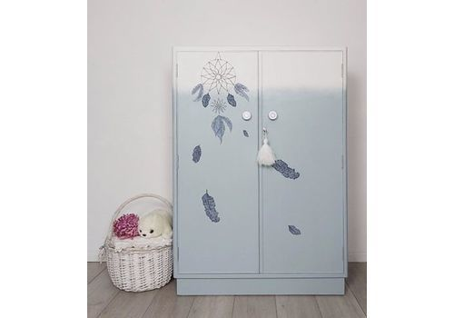 Child's / Nursery Wardrobe With Dreamcatcher Design In Blue And White