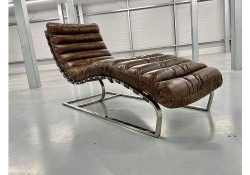 Mid Century Oviedo Leather Chaise Lounge