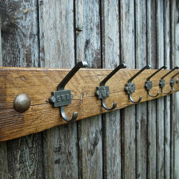 Reclaimed Wood Industrial Coat Rack