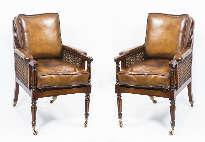 Pair Of Regency Bergere Armchairs Manner Of Gillows