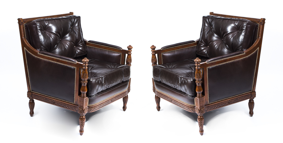Pair Of Brown Button Back Leather Armchairs