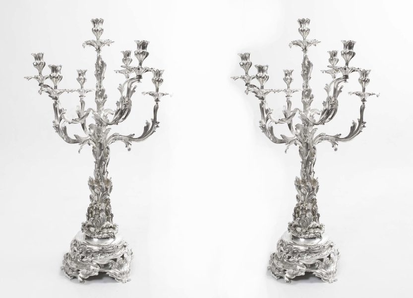 Sheffield Silver Plated Rococo Style Candelabra photo 1