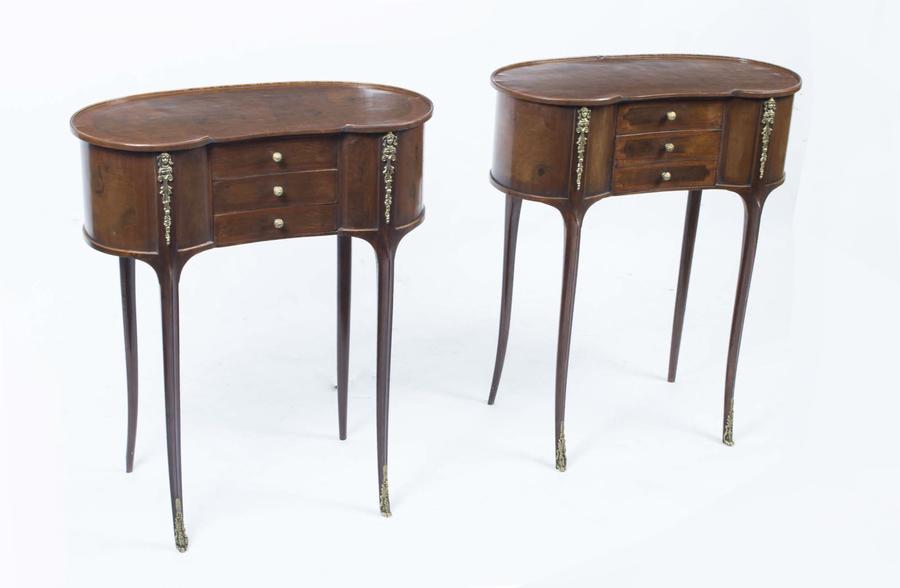 Pair Victorian Style Walnut Kidney Bedside Side Tables