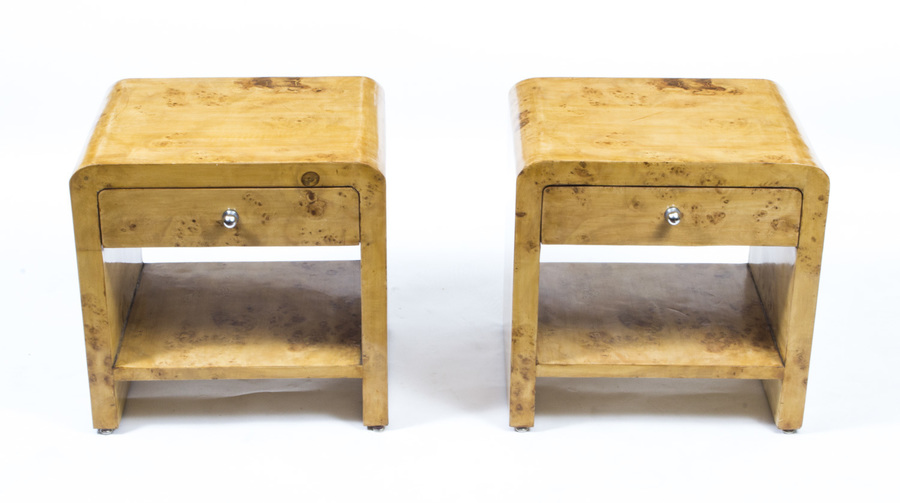 Pair Of Art Deco Style Birdseye Maple Bedside Cabinets photo 1