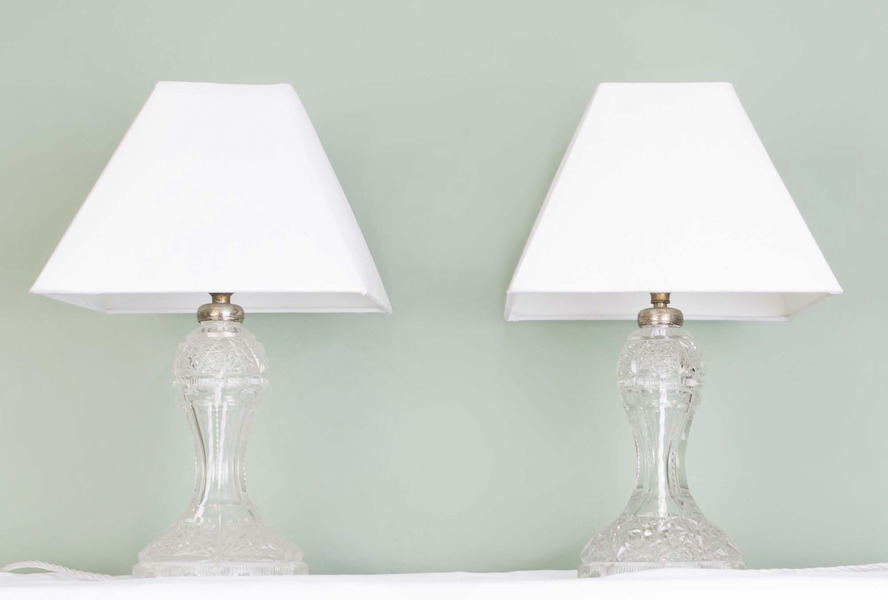 Pair Of Art Deco Cut Glass Lamps C.1930 photo 1