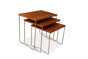 Thumb mid century modern teak set of three nesting tables with tubular chromed steel supports 1960s read shipping details 0