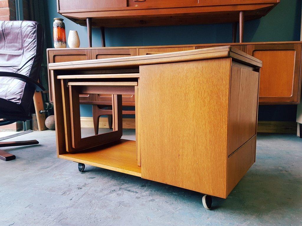 Mid Century Mc Intosh Tristor Flip Top Coffee Table Nest ...