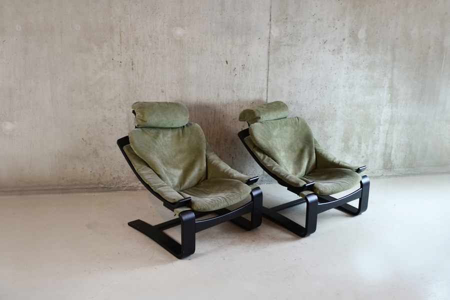 Pair Of 1970's Belgian Green Suede Armchairs With Wooden Bentwood Frame