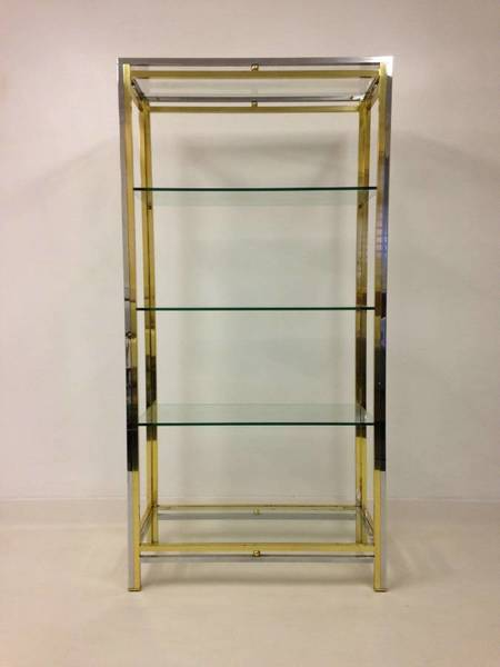 1970s Chrome And Brass Etagere