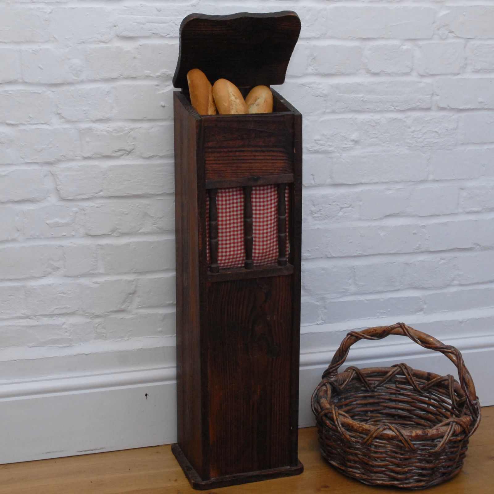 French Baguette Box Vintage Wooden Bread Bin
