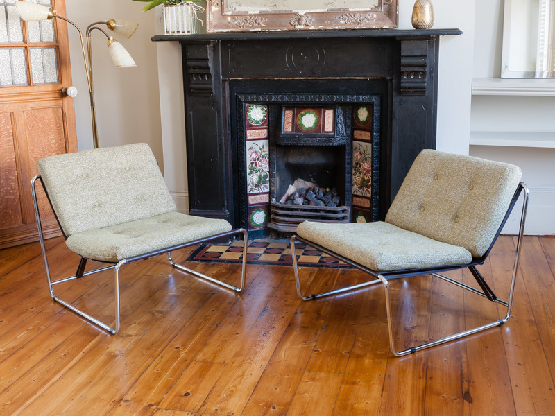 Pair Of 1960 S Chrome Tubular Side Chairs