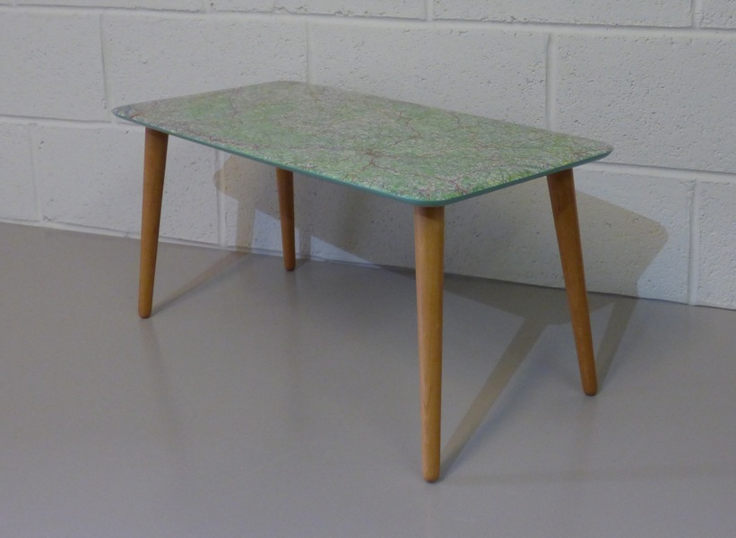 Fab Retro Mid Century Coffee Table Upcycled Using Vintage French Road Map / Farrow & Ball Paint