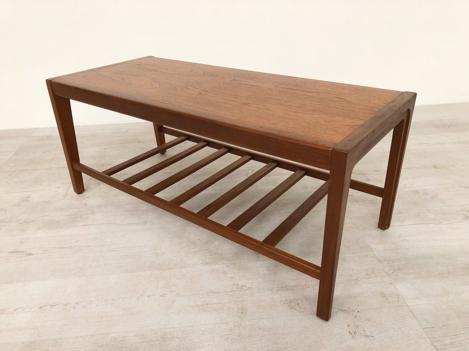 Vintage Mid Century 70s Teak Coffee Table With Magazine Storage