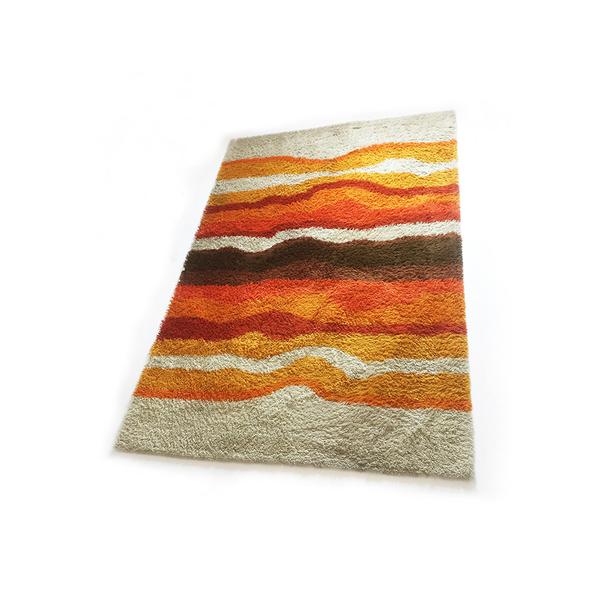 Modernist Multi Color High Pile Rya Rug