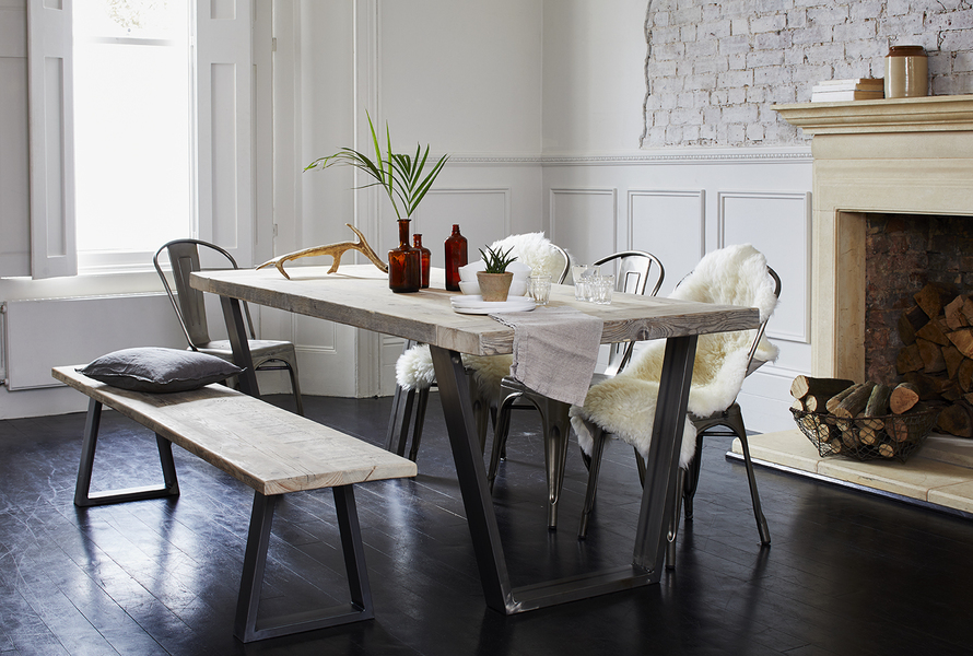 Reclaimed Industrial Dining Table With Steel Frame (Woburn)