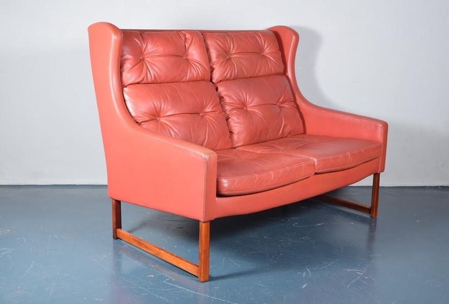 Rudolf B Glatzel For Kill International Red High Back Leather Sofa