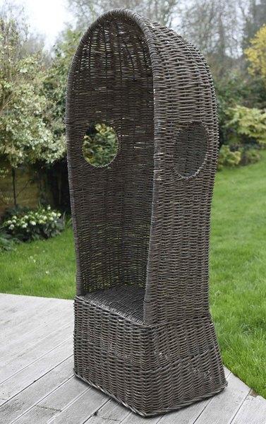19th Century Antique Wicker Porter's Hooded Garden Chair.