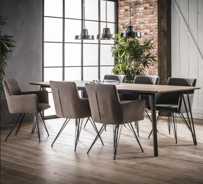Large Industrial Style Steel Legged Dining Table With Wood Top. Width: 2.4 Metres Depth:1 Metre. Free Delivery