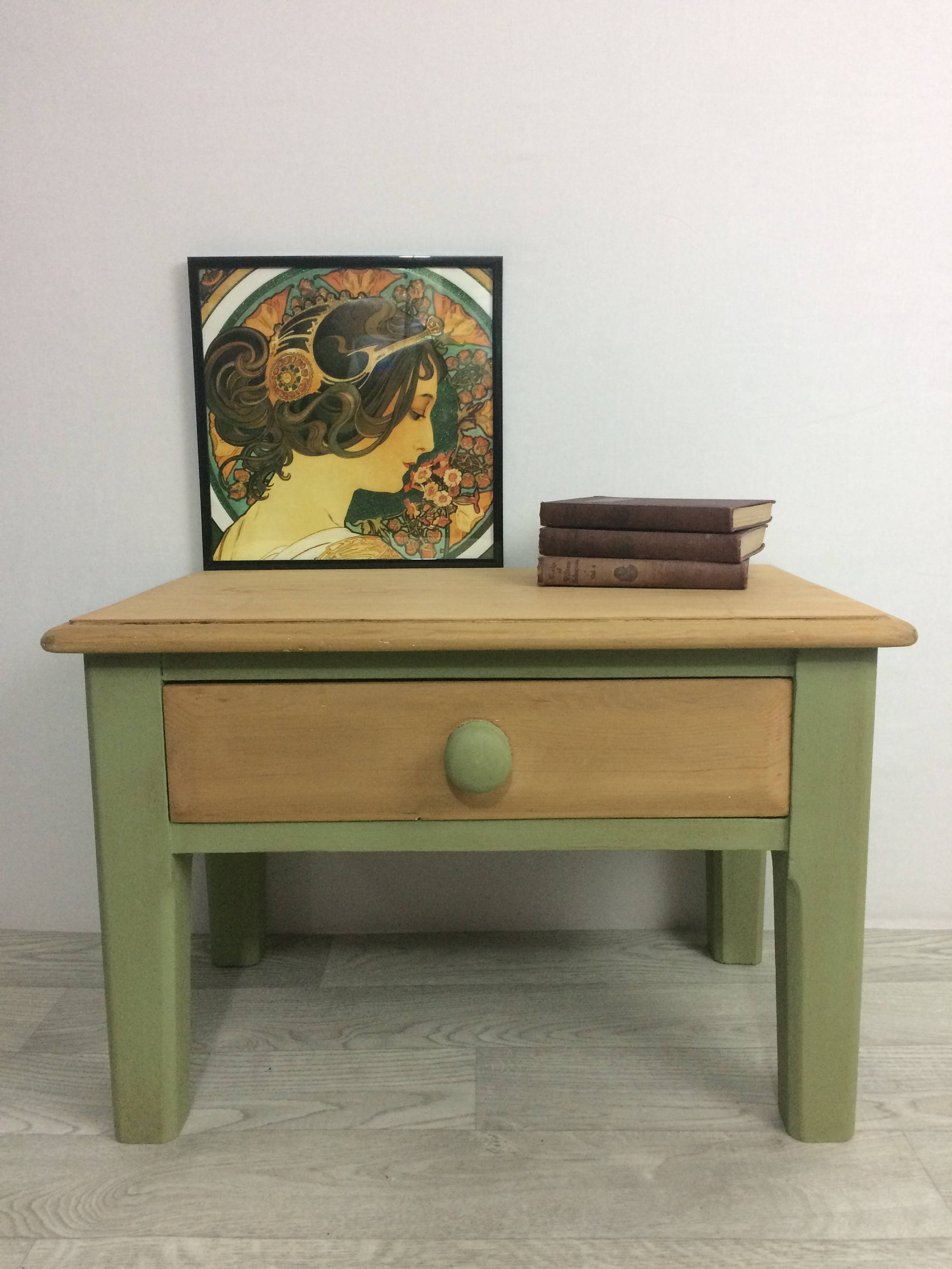 Sage Green And Pine Painted Side Table Vinterior